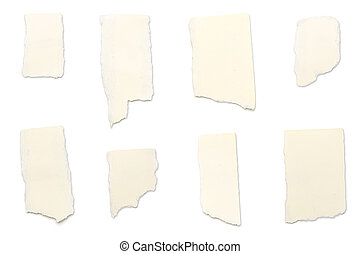 ripped yellow pieces of paper, isolated on white