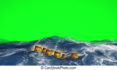 Ripple text floating in the water against green screen
