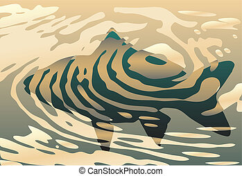 Rippled fish - Vector background design of a fish in a pool...