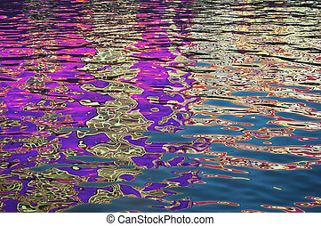 Rippled reflection abstract - Close up on rippled surface of...