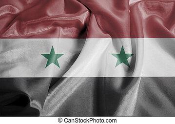 Rippled Waving Flag of Syria