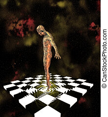 Ripples - Surreal Composition of human like figre and...