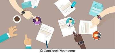riprendere, processo, reclutamento, scrivania, impiegato, cv...