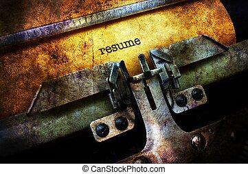 riprendere, su, macchina scrivere, grunge, concetto