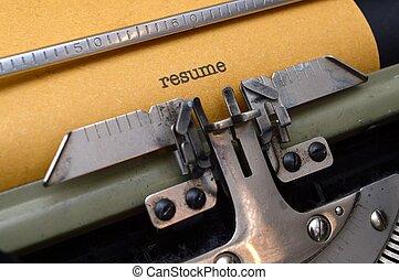riprendere, su, macchina scrivere