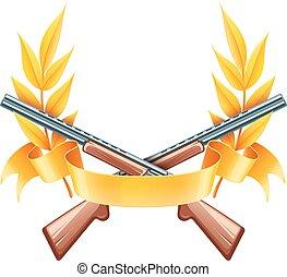 riprese, fucili, emblema, o, caccia