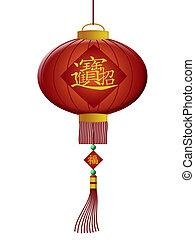 riqueza, chino, linternas, año, nuevo, feliz