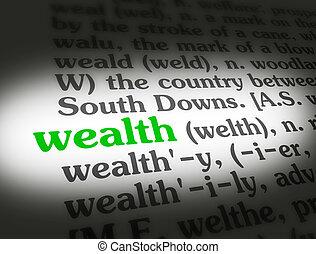 riqueza, dicionário