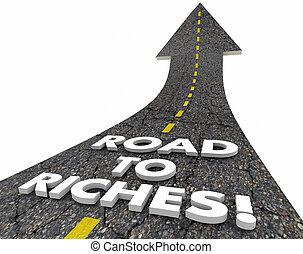 riqueza, dinheiro, riquezas, ilustração, rua, fácil, renda, palavras, estrada, 3d