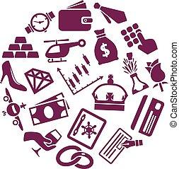 riqueza, iconos, en, círculo