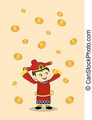 riqueza, ouro, deus, moedas, ilustração, vetorial, ano, novo, queda, chinês