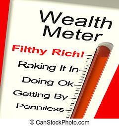 riqueza, ser, dinero, actuación, metro, rico
