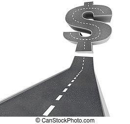 riquezas, -, sinal dólar, rua, estrada