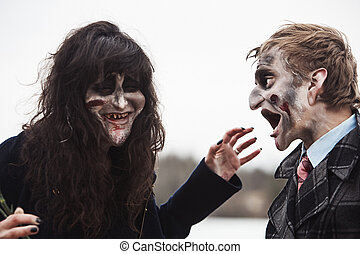 rir, alto, dois, zombies, saída