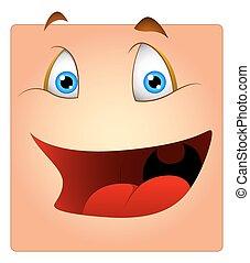 rir, caricatura, caixa, smiley