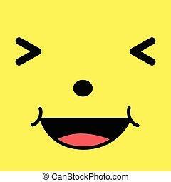 rir, caricatura, rosto