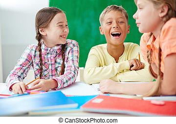 rir, em, lição