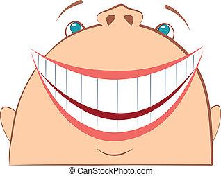 rir, face., caricatura, símbolo, de, fun.vector, homem