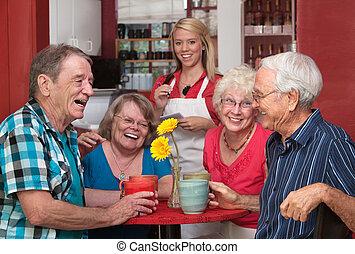 rir, grupo pessoas