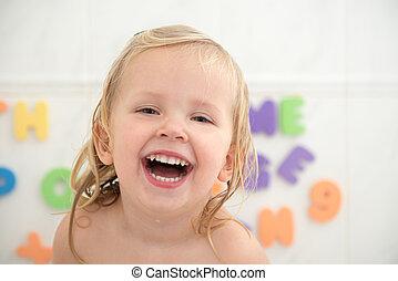 rir, menina, com, dentes agradáveis