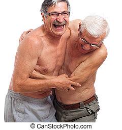 rir, seniores, luta, para, divertimento