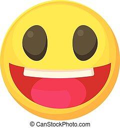 rir, smiley, ícone, caricatura, estilo