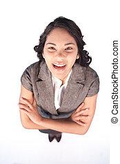 rire, appareil photo, femme affaires, haut angle