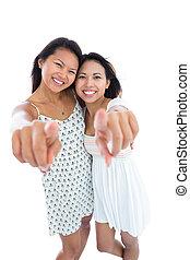 rire, appareil photo, soeurs, pointage, jeune