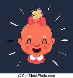 rire, figure, illustration, girl, sombre, backround., pleurer, vecteur, bébé, ou