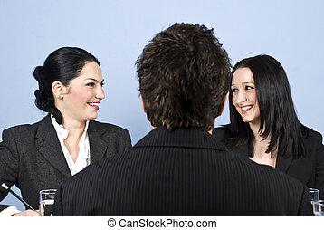 rire, gens, entrevue, métier