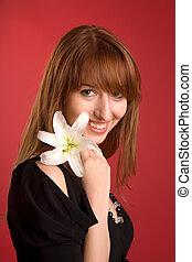 rire, girl, à, fleur