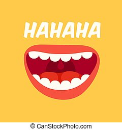 rire, lol, day., avril, vecteur, fond jaune, fools, mouth., bruyant, rire