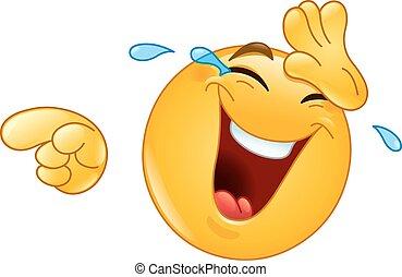 rire, pointage, emoticon, larmes