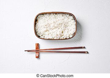 ris, bento, chopsticks., æske