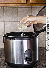ris, förberedande, kokspis