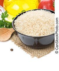 ris, og, mad, ingrediens, isoleret, på hvide
