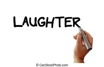 risada, mão, marcador