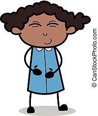 risadinha, escritório, -, ilustração, vetorial, pretas, retro, menina, caricatura