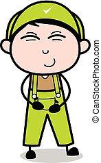risadinha, -, trabalhador, ilustração, vetorial, retro, repairman, caricatura
