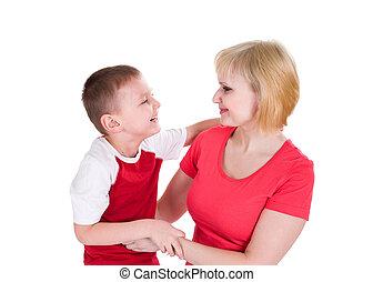 risate, madre, ragazzo, abbracciare, allegramente