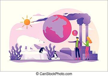 riscaldamento globale, concetto, illustration., vettore