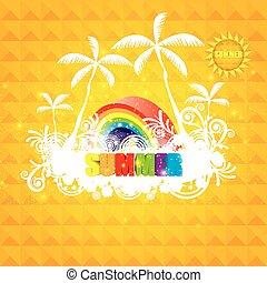riscaldare, arancia, estate, colorito, fondo, con, sole