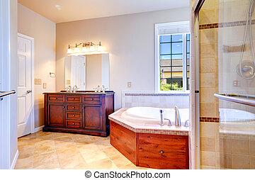 Elegante, bagno, riscaldare, colorato, interior. Marrone,... foto d ...