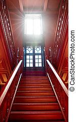 riscaldare, scale, luce, casa legno, antico, windows