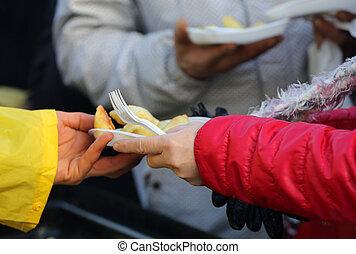 riscaldare, senzatetto, povero, cibo