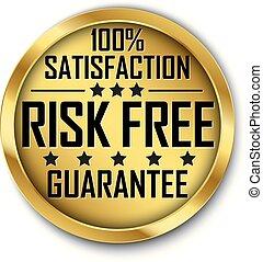 rischio, libero, 100%, soddisfazione, garanzia, oro, etichetta, vettore, illustrazione