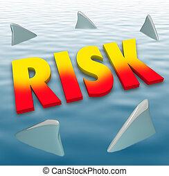 rischio, parola, squalo, pinne, acqua, pericolo, mortale, avvertimento, attenzione