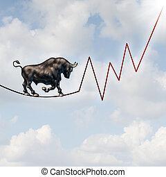 risco, mercado, touro