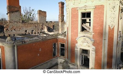 Rise along the walls of the ruins of Tartakivsky castle, Lviv region, Ukraine. Palace of Potocki, Lanzkronronski
