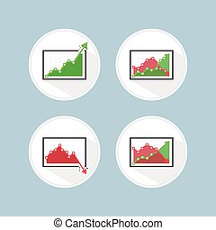 Rise and fall business graph, VECTOR, EPS10